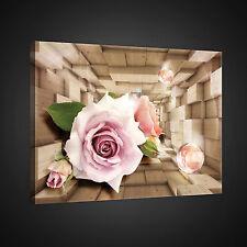 CANVAS WANDBILD LEINWANDBILD POSTER FOTO ABSTRAKTION 3D ROSEN TUNNEL  3FX2356O1