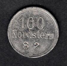 Flensburg - Loge Nordstern- Wertmarke 100 aus Zink, vernickelt, Monogramm V.A.D.