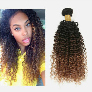 14'' 1Pc  Brazilian 1B/4/30# Ombre Kinky Curly Human Virgin Hair Extension Weft