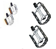 "Wellgo M149 Alloy Pedals 9/16"" Mountain Bike Silver & Black Bicycle Pedals"