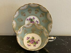 Paragon Bone China Green Gold Cup and Saucer with Purple Floral Decoration