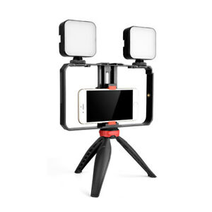 Portable Mini Video kit Cage+2X Light+Tripod Outdoor Photography Live Broadcast