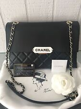 NEW $3400 2017 AUTH CHANEL RETRO PLATE BLACK CROSSBODY SHOULDER FLAP BAG GOLD HW
