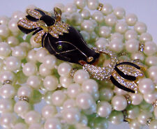 "Vtg CINER Moghul CRYSTAL & PEARL HORSE HEAD NECKLACE 38"" Double Strand Pearls"