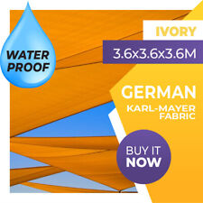 WATERPROOF SHADE SAIL TRIANGLE IVORY 3.6m x 3.6m x 3.6m 3.6x3.6x3.6 3.6x3.6x3.6m