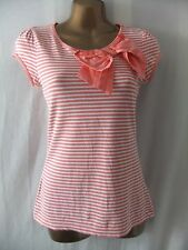 LADIES Next 8 CORAL+WHITE STRIPE STRETCH/LARGE SIDE BOW/CAP SLEEVE CASUAL TOP