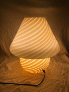 "15"" Vintage Murano Vetri Italian Glass Mushroom Lamp, Barely Used, Beige/Yellow"