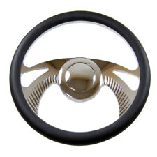 "GM 14"" (350mm) Chrome Billet Aluminum Steering Wheel 9 Hole & Smooth Horn Button"