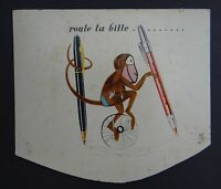 Ancien carton PLV Présentoir BAIGNOL et FARJON SINGE  monkey plume pen nibs