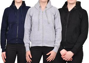 Ladies Plain Hoodie Zip Up Jacket Hooded Coloured Fleece Jumper Women Hoody Top