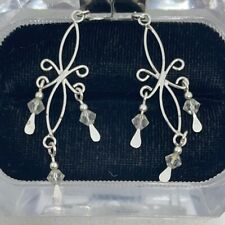Sterling Silver Decorative Dangle Earrings 925