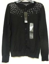 Central Park West New York Sequin/Beaded Cardigan Sweater Women Small Black