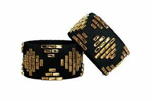 45mm Big Bracelet Silk Thread Bangles Black Color for Women And Girls
