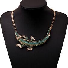 Strass grün Krokodil Alligator Glamour Collier Kette Halskette Gold plattiert