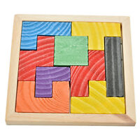 1X Wooden Tangram Brain Teaser Puzzle Tetris Game Educational Baby Child Toy  JC