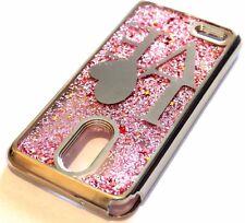 For LG Stylo 3 - SILVER LOVE Pink Glitter Stars Flakes Liquid Sparkle Skin Case