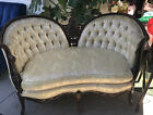 Antique Victorian Style Settee / Loveseat Yellow Pink Flowers Fabric