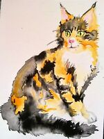 Original calico Main Coon kitty cat art Watercolor painting,pet lover best gift