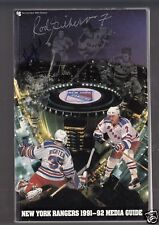 New York Rangers 1991-92 Media Guide signed by Rod Gilbert & Vic Hatfield