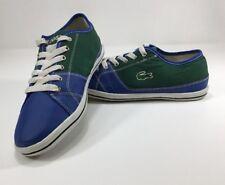VTG Lacoste Mens Sneaker Shoes Leather & Canvas Color Block SZ 9 Lace-up EUC
