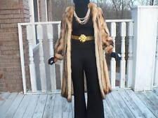 Rare Designer genuine full length gold Fitch or german sable Fur coat jacket S-6