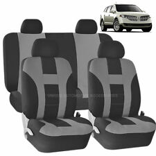 GRAY & BLACK DOUBLE STITCH SEAT COVERS 8PC SET for LINCOLN MKZ MKT MKX
