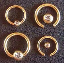 Klemmkugelring Piercing Ring BCR gold TITAN Kristall 2 Größen lieferbar STUDIO