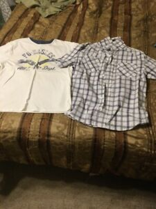 Boy's Faded Glory 2 in 1 Shirt Size 10/12 Blue/White--FG Eagles