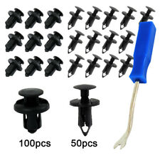 150Pc Car Body Plastic Push Pin Rivet Fasteners Trim Moulding Clip +Removal Tool
