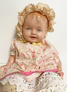 "Vintage Antique Composition Baby Doll W/ Sleepy Eyes 25"" Cry Baby Teeth CUTE"