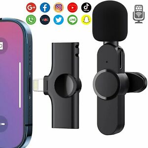 Wireless / Wired Lavalier Microphone For iPhone iPad Type-C Samsung Live Stream