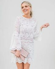 S New Bohemian Women's White Lace Crochet Beach Party Summer Dress Wedding Small