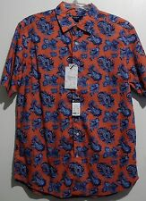 CREMIEUX 38 Bold Berry Red Blue Floral Paisley Short Sleeve Shirt L NEW! $79.50
