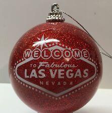 Las Vegas Sign Red Glitter Christmas Tree Ball Ornament Holiday Casino