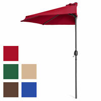 BCP 9ft Half Patio Umbrella w/ Crank, Steel Frame, UV- & Water-Resistant Fabric