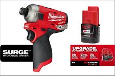 "Milwaukee M12 Fuel SURGE Brushless 1/4"" Impact Hydraulic Driver 2551-20 Battery"