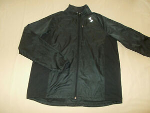 UNDER ARMOUR ALL SEASON GEAR FULL ZIP BLACK WINDBREAKER JACKET MENS LARGE EXCELL