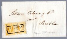 Mexico: 1856 folded wrapper to Puebla franked 1 Reis Pair ovpt PUEBLA