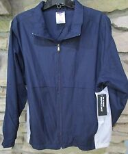 Nylon jacket Size L 100% Polyester Navy Blue White Sides Waterproof Jerzees NWT