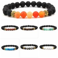 Fashion Colorful Natural Lava Stone Gemstone Energy Reiki Mens Bracelets Jewelry