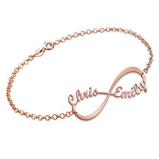 Rose Gold Plated Infinity Name Bracelet Engraved with two names personalizedgift