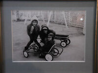 Vintage B&W Photograph Framed Children Radio Flyer Wagon Pedal Car 1950's 5x7