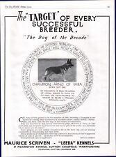 GERMAN SHEPHERD DOG WORLD 1949 DOG BREED KENNEL ADVERT PRINT PAGE LEEDA KENNEL