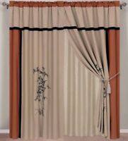 Chezmoi Collection 4-Piece Bamboo Embroidery Window Curtain Set, Beige/Rust