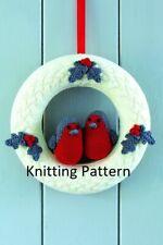 (812) Christmas Wreath COPY Knitting Pattern with Robins in DK yarn