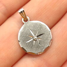 Diamond Accent Small Pendant 925 Sterling Silver Vintage Real