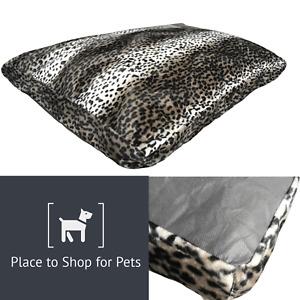 LARGE Vegan Fur Dog Bed Pet Washable Zipped Mattress Cushion Memory Foam Cubes