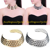 Fashion Gold Silver Metal Chain Hoop Loop Circle Chunky Collar Bib Necklace 9718