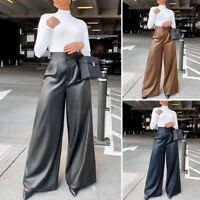 Womens Casual Long Pants Holiday Solid Loose Wide Leg Trousers Ladies Culottes