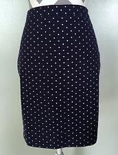 ANN TAYLOR Loft Womens Navy Blue White Polka Dot Pencil Skirt Size 4